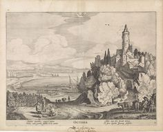 Jan van de Velde (II) | Oktober, Jan van de Velde (II), Claes Jansz. Visscher (II), 1618 | Landschap met een kasteel op een berg aan een meer met links boeren met vaten bij wijnranken; een gezicht op Palermo op Sicilië;  voorstellende de maand oktober. Bovenaan het bij deze maand behorende sterrenbeeld: schorpioen. Tiende prent uit een serie van twaalf.