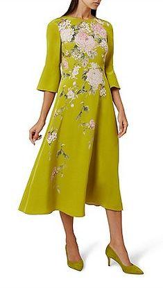 Hobbs - Green floral print silk 'Sadie' knee length tea dress