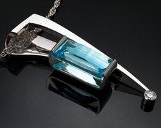 statement necklace - December birthstone - Swiss blue topaz - diamond - contemporary jewelry - gemstone pendant - 3411. $356.00, via Etsy.