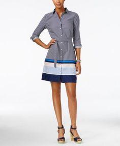 TOMMY HILFIGER Tommy Hilfiger Dot-Print Striped Shirtdress. #tommyhilfiger #cloth # dresses