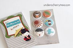 Jin's Japanese Yorokobi buttons   A Bunch of Cherries Jin Yong, Cherries, Coasters, Paper Crafts, Buttons, Japanese, Lettering, Projects, Maraschino Cherries