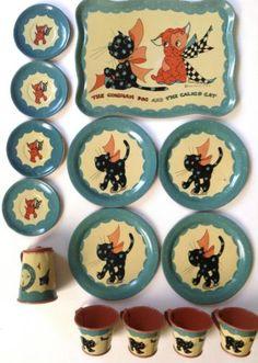 Vintage-Ohio-Art-tin-litho-toy-toy-tea-set-F-B-Peat-Gingham-Dog-Calico-Cat