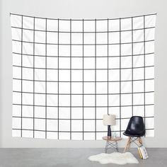 White Black Grid Minimalist Wall Tapestry by Beautiful Homes | Society6