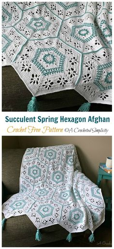 Crochet afghans 504332858275038910 - Source by sarabizarre Hexagon Crochet Pattern, Crochet Hexagon Blanket, Crochet Ripple, Manta Crochet, Afghan Crochet Patterns, Crochet Squares, Free Crochet, Knit Crochet, Free Pattern