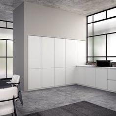 La cucina Aspen di Doimo Cucine prevede colonne a filo muro e basi operative con piano in Corian. Un modulo base misura: L 60 x P 58 x H 84,3 cm
