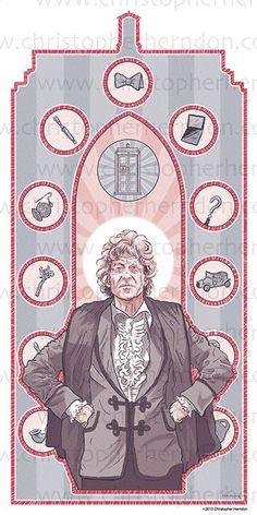 Saint Pertwee of Who Screen Print 11x17 Print by ChrisHerndonArt, on Etsy.com $25 Christopher Herndon Artwork Dr Who February 2015