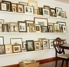 Love how shelves keep a gallery wall organized. India Hicks and David Flint Wood home in the Bahamas. Fill a couple of the Shelves in My Closet with Favorite Pix. Home Decor Accessories, Family Room, Family Wall, Sweet Home, House Design, Interior Design, Modern Interior, House Styles, Picture Shelves