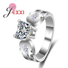 JEXXI Woman Elegant Wedding Engagement Jewelry Fashion Finger Accessories Romantic Love Clear White Orange Crystal 925 Rings #Affiliate