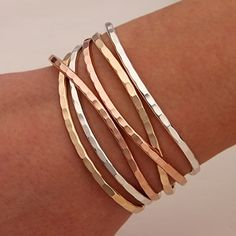 Handcrafted Thin Cuff Bracelets from David Smallcombe- Sterling Silver, 14k Yellow Gold Filled, and 14k Rose Gold Filled Hammered Cuff Bracelets