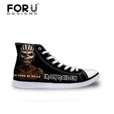 We love it and we know you also love it as well FORUDESIGNS Black Classic Canvas Men Casual Shoes,Iron Maiden Print Mens High-top Flat Shoes,Skull Men`s Canvas Walking Shoes  just only $26.39 with free shipping worldwide  #menshoes Plese click on picture to see our special price for you