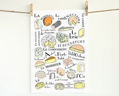 French Cheeses Kitchen Art Poster for the Kitchen (Food meat series) 13x19 fromages français for a cheese lover Brie Mimolette Yellow Orange on Etsy, $38.00
