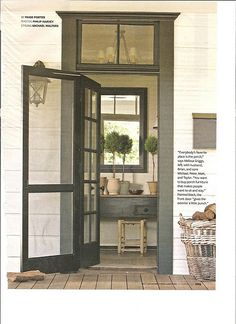 farmhouse entry | transom windows, screened door, french door, paint color.