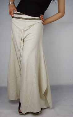 Flaxen linen flares / pants /split skirt Low Rise by angeldew - StyleSays