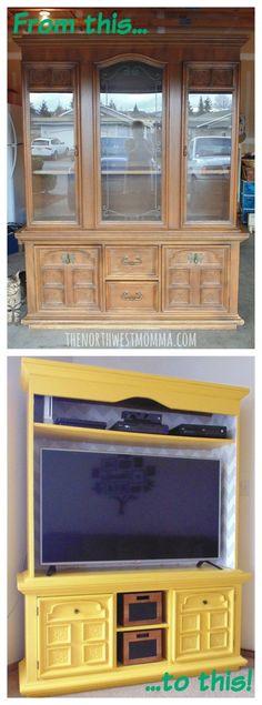 DIY Repurposed China Hutch into a TV Stand! #repurposedfurniture