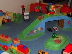 road with garage - polystyrene + box + paper bags + acrylyy colours