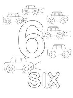 Teaching Numbers, Numbers Preschool, Math Numbers, Preschool Lessons, Preschool Kindergarten, Cars Coloring Pages, Alphabet Coloring Pages, Coloring Pages For Kids, Coloring Books