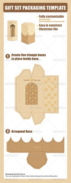 Gift Set Packaging Template #GraphicRiver This gift set template is fantastic for a set of 5 products. Five triangle shaped packages go into an octagonal base. Dieline can be fully customized to fit your needs. You can also enlarge this template to whatever size you need, all layers are provided for easy use. You can use the graphics provided or create your own.