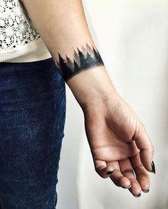 forest wristband tattoo ormanlı bilek bandı dövmesi