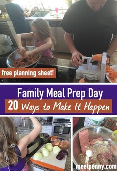Get the whole family to help you make meals in bulk! Discover 20 ways to make family meal prep day possible. Plus a free planning sheet!