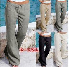 Fashion Women Flax Loose Casual High Waist Wide Leg Beach Long Pants Trousers Jo