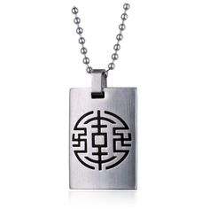 The front of this Stainless Steel pendant has a black enamel symbol.