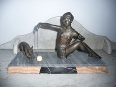 Antique Spelter Art Deco statue – woman and dog – circa 1920-30