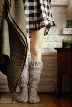 plaid nightie, cozy socks. check.