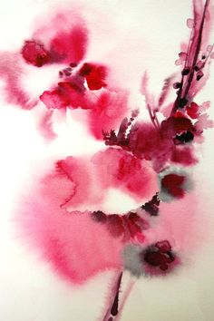 Original Watercolor Painting. Abstract Minimalist Flowers. Scarlet Red Pink. via Etsy