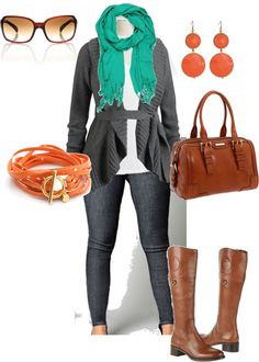 """Plus Size Fall Denim and Cardigan"" by alexawebb on Polyvore. I like everything but the boots."