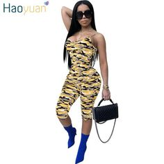 83b543c7726 New Arrival USA Independence Day Jumpsuits Sexy Loose Camouflage Playsuits  Women s Camo Overalls Printed Jungle Jumpsuit Shorts