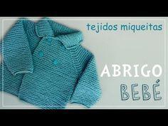 New Crochet Bebe Abrigo Ideas Knitted Baby Cardigan, Knit Baby Sweaters, Knitted Baby Clothes, Knitting Videos, Crochet Videos, All Free Crochet, Knit Crochet, Knitting For Kids, Baby Knitting