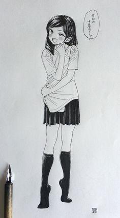 メディアツイート: 博(@siiteiebahiro)さん | Twitter Manga Anime, Moe Manga, Anime Art, Cool Sketches, Drawing Sketches, Drawings, Figure Sketching, Figure Drawing, Character Concept