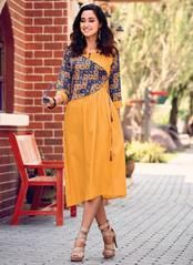 Golden yellow and navy blue ready made kurti. Party Wear Kurtis, Kurti Designs Party Wear, Kurta Designs Women, Salwar Designs, Dress Neck Designs, Blouse Designs, Jacket Style Kurti, Fancy Kurti, Kurta Neck Design