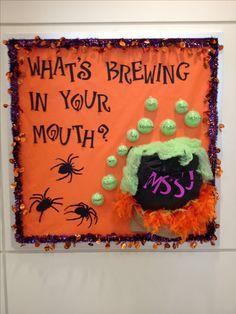 Dental hygiene Halloween bulletin board