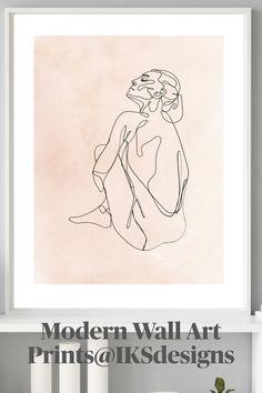 Contemporary Artwork, Modern Wall Art, Modern Contemporary, Nursery Prints, Wall Art Prints, Simple Artwork, Art Wall Kids, Line Drawing, Printable Wall Art