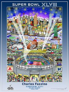 Super Bowl XLVIII (NY/NJ 2014) Official Charles Fazzino Pop Art Poster Print - Museum Editions