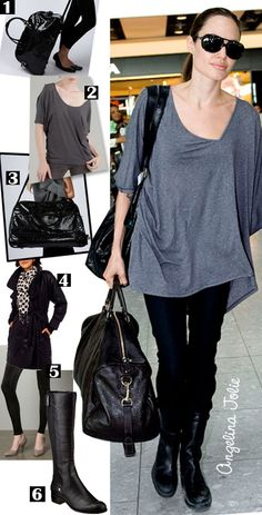 Angelina Jolie airport style - oh to look this good flying Angelina Jolie Style, Cool Style, My Style, Simple Style, Celebrities Before And After, Budget Fashion, Airport Style, Affordable Fashion, Black Leggings