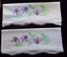 PAIR Set Vintage Primitive Pillowcases Hand Embroidered Crochet Purple Iris