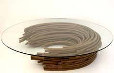 Recycled cardboard + glass table by Domingos Totora