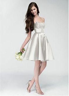 7379b7dba37e Pretty Satin Bateau Neckline Natural Waistline Short A-line Wedding Dress  Knee Length Bridesmaid Dresses
