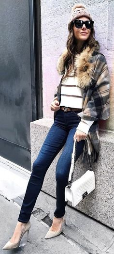 Striped Knit Top and Plaid Cape Make This Outfit Great.