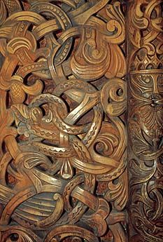 Medieval wood carvings, Acanthus, Stave Church Portal, Norway
