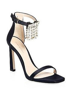 ba05927374d9cb Stuart Weitzman - Fringe Square Embellished Satin Sandals. T StrapAnkle ...