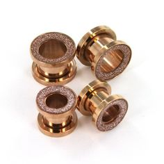 Amazon.com: Rose Gold Color Screw on Tunnel Plugs Set with Shiny Glitter Surface - 0G (8mm), and 00G (10mm) - Sold as 2 Pairs: Jewelry