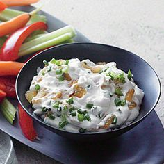 Cooking Light (August 2013): Sour Cream and Onion Dip - Serve this creamy dip with carrot and celery batons, sliced bell pepper, or pita chips.
