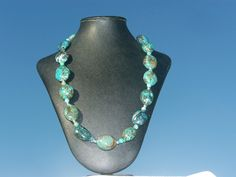 Mixture of Chinese Turquoise and Arizona turquoise. A big statement of turquoise.