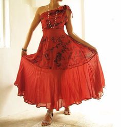 If I could maxi dress...Deep red mix silk...1 dress by cocoricooo
