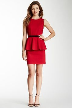 Red peplum dress with belt
