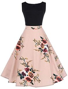 Women Dress,FeiXiang Vintage Floral Print Bodycon Sleeveless O-Neck Pleated Elegant Evening Party Dress Spring Dress (XX-Large, Pink) Pretty Prom Dresses, Elegant Dresses, Pretty Outfits, Homecoming Dresses, Cute Dresses, Vintage Dresses, Beautiful Dresses, Casual Dresses, Short Dresses