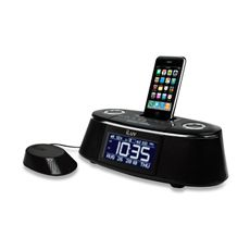 ☑iLuv® Vibe Plus Dual Alarm Clock w/Bed Speaker Shaker for iPhone Model iMM178 - Black - Bed Bath & Beyond. I have one & it works GREAT!!